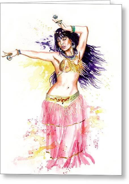 Harem Girl Greeting Cards - Dancing Girl Greeting Card by Ken Meyer jr