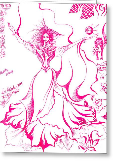 Dancing Girl. Pink Mood Greeting Card by Sofia Metal Queen