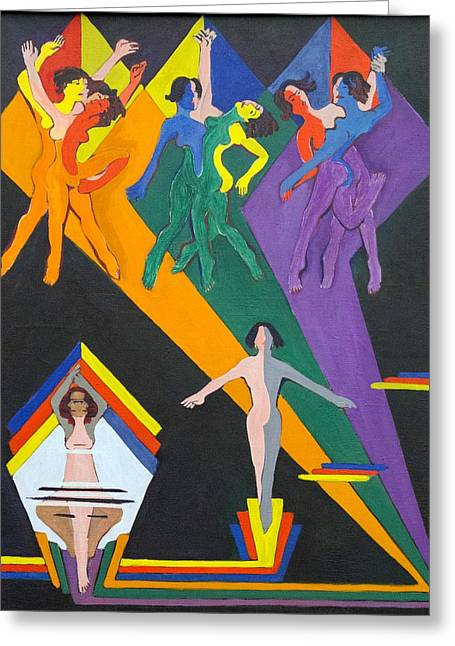Dancing Girls In Rays Of Color Greeting Card