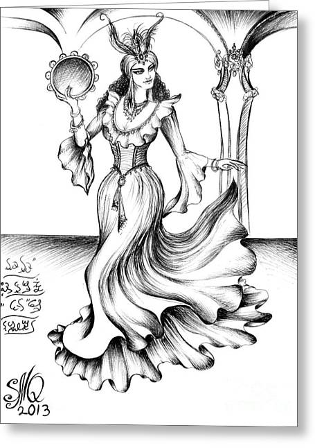 Dancing Gypsy From The Middle East Greeting Card by Sofia Metal Queen