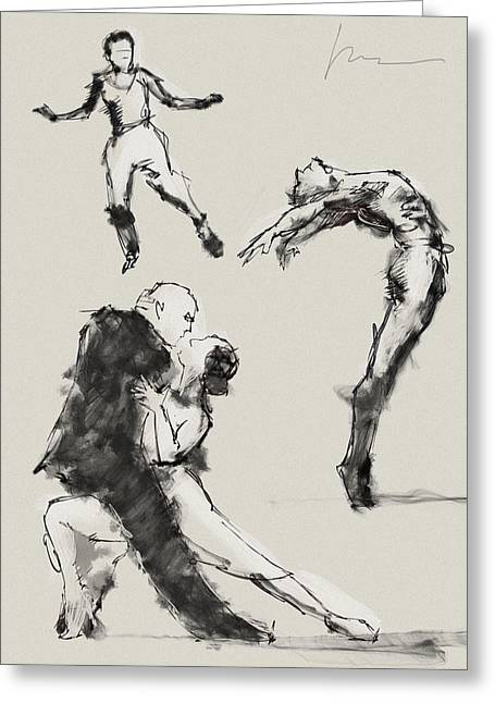 Dancing Greeting Card by H James Hoff