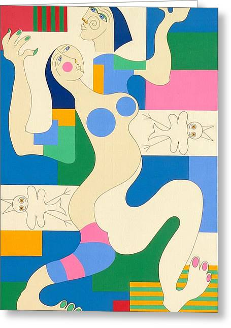 Dancing Greeting Card by Hildegarde Handsaeme