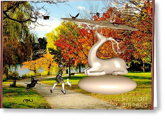 Dancing In Front Of The Statue Of The Deer 44 Greeting Card