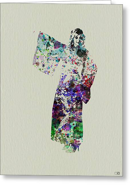 Geisha Greeting Cards - Dancing in Kimono Greeting Card by Naxart Studio