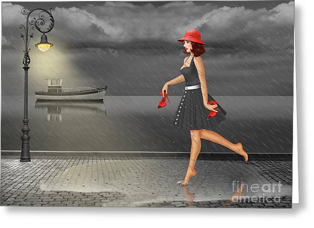 Dancing In The Rain Greeting Card by Monika Juengling