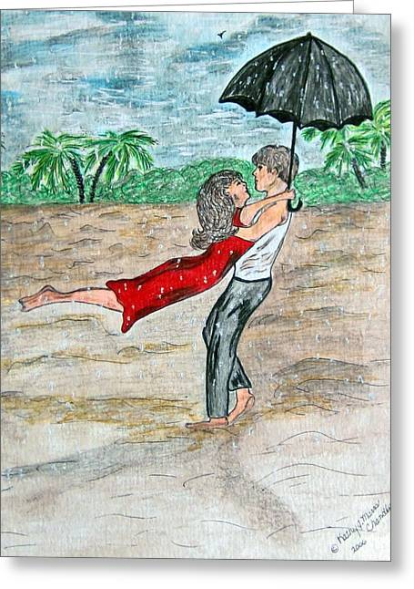 Dancing In The Rain On The Beach Greeting Card