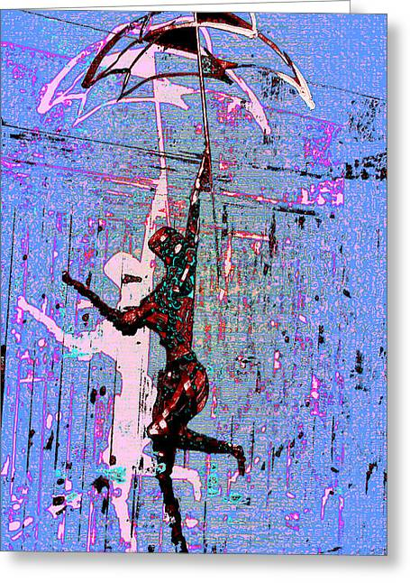 Dancing In The Rain Greeting Card by Tony Marquez