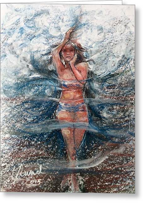Greeting Card featuring the painting Dancing In The Water  by Laila Awad Jamaleldin