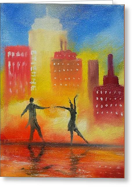Dancing In The Wet City Streets Greeting Card by Jason Etienne