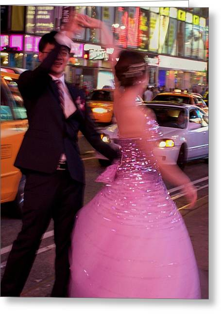 Dancing In Times Square Greeting Card by Vijay Sharon Govender
