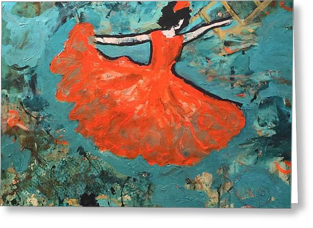Dancing Lady Greeting Card by Annette McElhiney