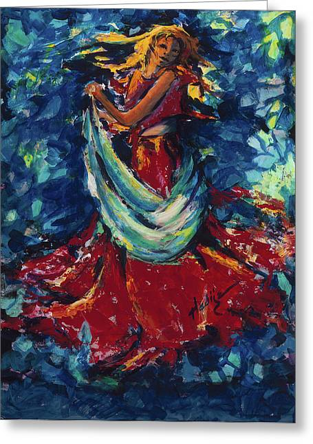Red Dress Greeting Cards - Dancing Lady In Red Greeting Card by Mary DuCharme