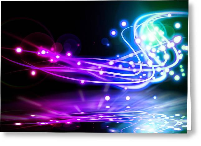 Abstract Waves Greeting Cards - Dancing Lights Greeting Card by Setsiri Silapasuwanchai