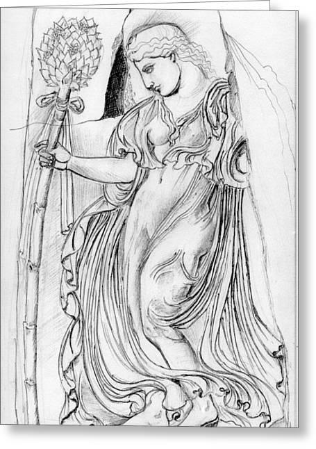 Greek Sculpture Drawings Greeting Cards - Dancing Maenad Greeting Card by Sabrina Khan