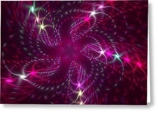 Dancing Magenta Flower Star In Motion Greeting Card