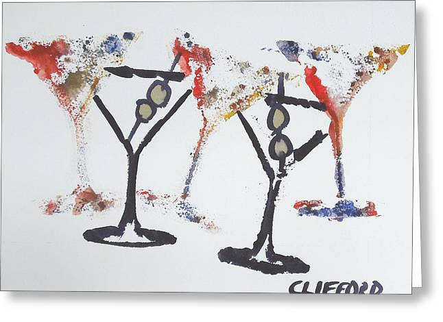 Dancing Martini's Greeting Card by Cory Clifford
