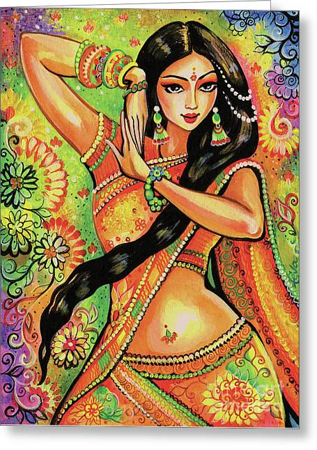 Greeting Card featuring the painting Dancing Nithya by Eva Campbell