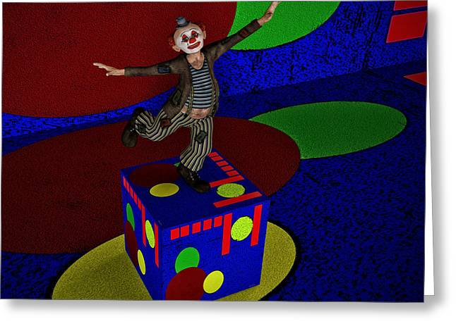Dancing On A Cube Greeting Card by Ramon Martinez