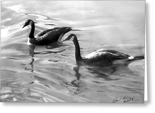 Geese Pastels Greeting Cards - Dancing Reflections Greeting Card by David Vincenzi