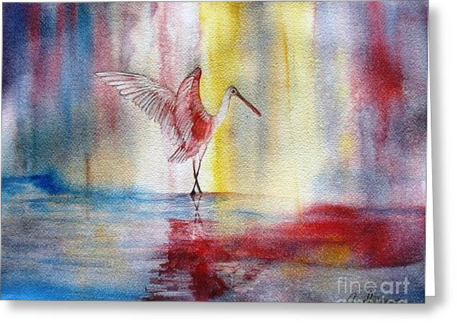 Dancing Roseate Spoonbill Greeting Card by Georgia Johnson