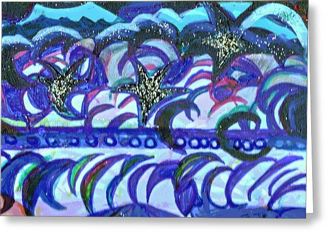 Dancing Stars And Blue Moons Greeting Card by Anne-Elizabeth Whiteway