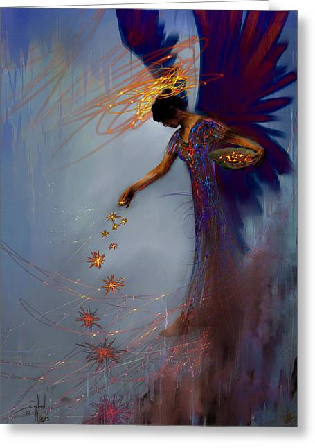 Figures Mixed Media Greeting Cards - Dancing the Lifes Web Star Gifter Does Greeting Card by Stephen Lucas
