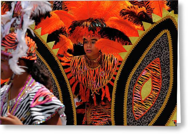 Dancing Tiger King Of The Band With Queen At The Junior Caribana Greeting Card by Reimar Gaertner