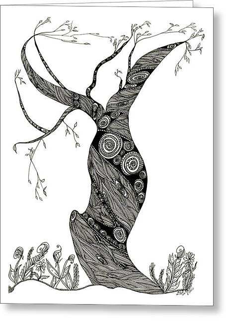 Greeting Card featuring the drawing Dancing Tree by Barbara McConoughey