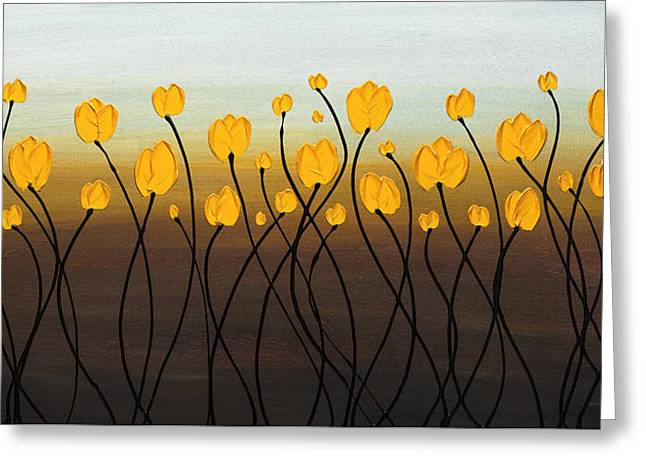Dancing Tulips Greeting Card by Carmen Guedez