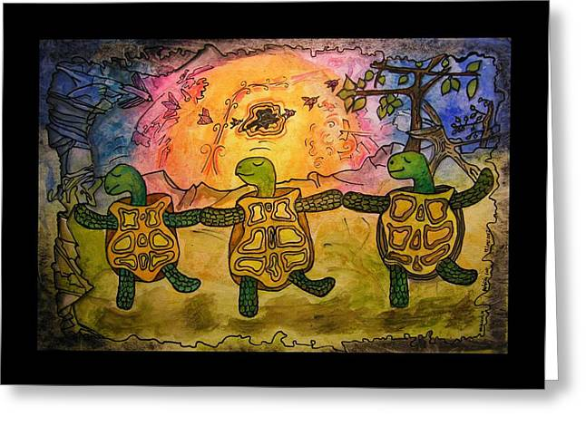 Balance Paintings Greeting Cards - Dancing Turtles Greeting Card by Mimulux patricia no