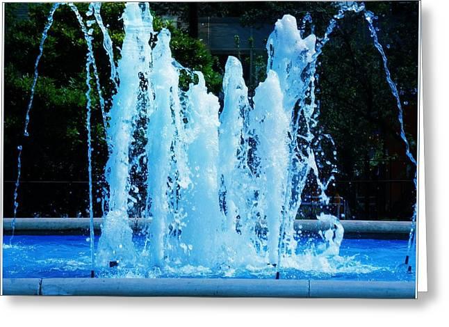 Dancing Waters Blue Greeting Card