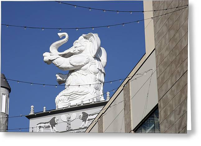 Dancing White Elephant Greeting Card