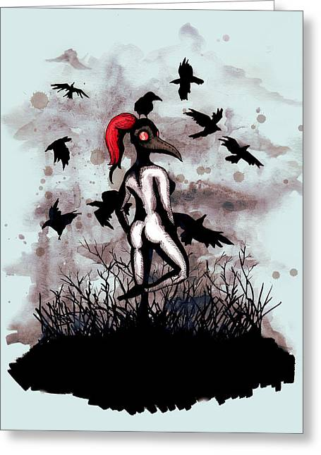 Dancing With Crows Greeting Card
