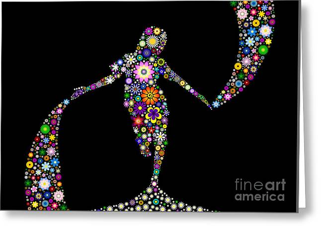 Dancing With Flowers Greeting Card by Tim Gainey