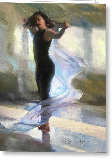 Dancing With Gossamer Greeting Card by Anna Rose Bain
