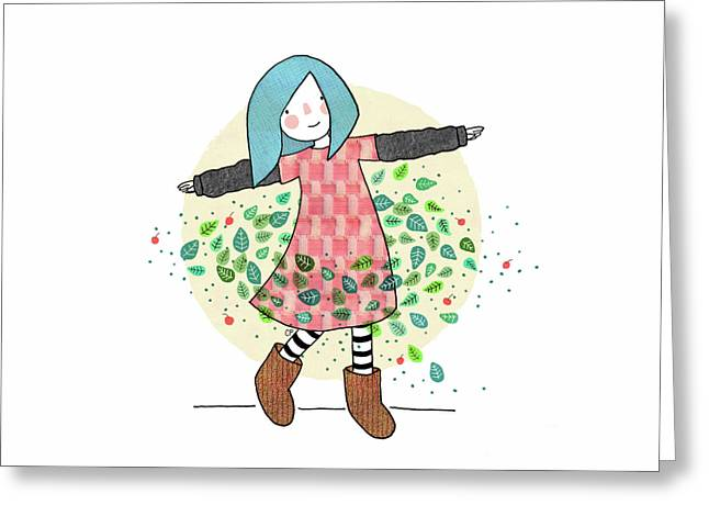 Dancing With Leaves Greeting Card by Carolina Parada