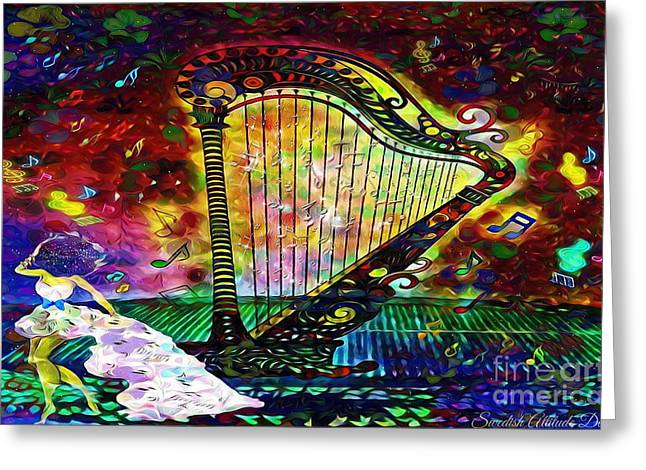 Dancing With The Harp Greeting Card
