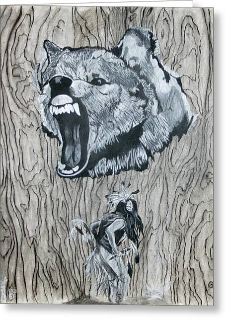 Dancing With The Spirit Of The Wolf Greeting Card by KeMonee Casey