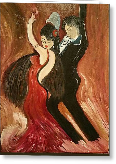 Fire Dancers Greeting Card by Diann Blevins