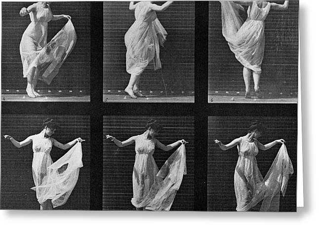 Dancing Woman Greeting Card by Eadweard Muybridge
