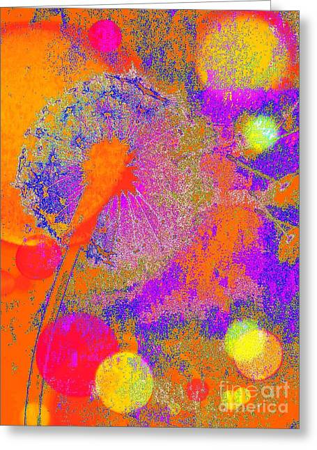 Dandelion Colorful Abstract Greeting Card by Jasna Gopic