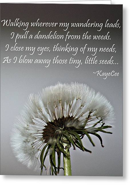 Dandelion Dreams- Fine Art And Poetry Greeting Card