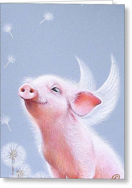Best Sellers -  - Piglets Greeting Cards - Dandelions Greeting Card by Elena Kolotusha