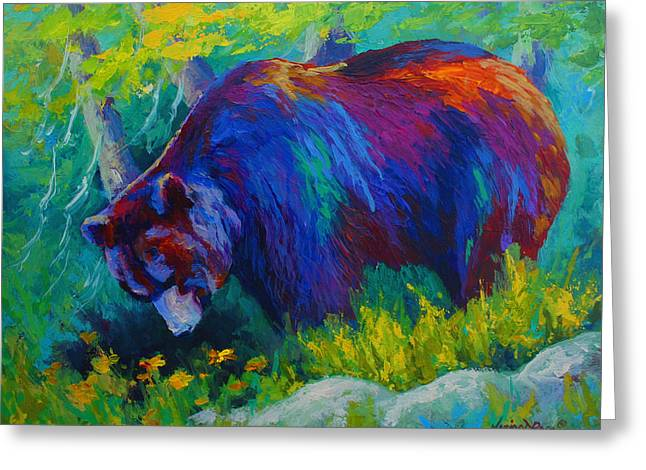 Alaska Paintings Greeting Cards - Dandelions For Dinner - Black Bear Greeting Card by Marion Rose