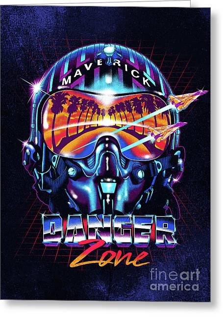 Danger Zone / Top Gun / Maverick / Pilot Helmet / Pop Culture / 1980s Movie / 80s Greeting Card