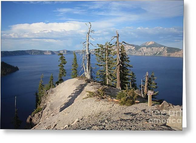Dangerous Slope At Crater Lake Greeting Card by Carol Groenen