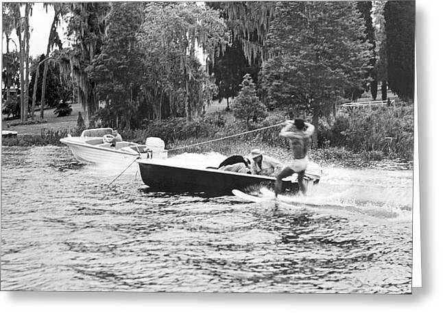 Dangerous Water Skiing Greeting Card by Underwood Archives