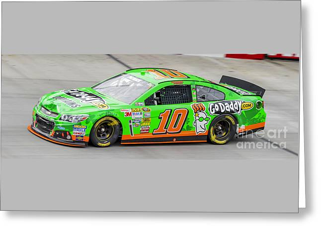 Danica Patrick At Bristol Motor Speedway Driving #10 Go Daddy St Greeting Card by David Oppenheimer