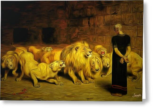 Daniel In The Lions' Den Greeting Card by Leonardo Digenio