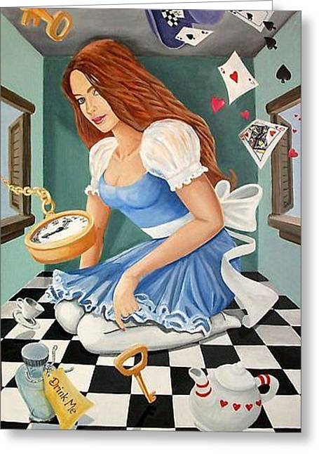 Danielle In Wonderland Greeting Card by Nancy Salamouny